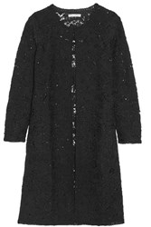 Oscar De La Renta Sequin Embellished Crocheted Wool Blend Coat Black