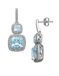 Lord And Taylor 14 Kt. White Gold Topaz Earrings Blue Topaz White Gold