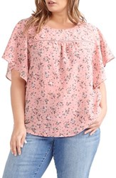 Addition Elle Love And Legend Plus Size Women's Print Ruffle Sleeve Blouse Dusty Rose