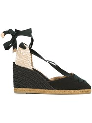 Castaner Tie Ankle Wedge Espadrilles Women Cotton Leather 37 Black