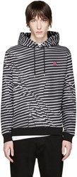 Mcq By Alexander Mcqueen Black And White Striped Clean Hoodie