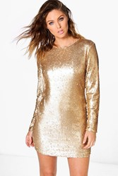 Boohoo Fliss Sequin Bodycon Dress Gold