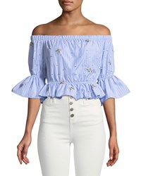 Romeo And Juliet Couture Floral Embroidered Striped Crop Blouse Blue White