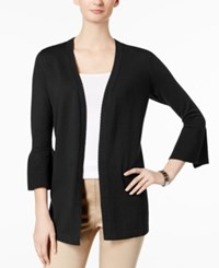 Charter Club Scalloped Bell Sleeve Cardigan Created For Macy's Deep Black