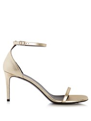 Saint Laurent Jane Grained Leather Sandals Gold