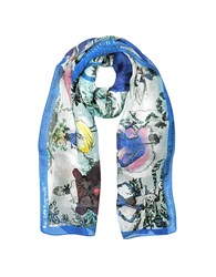 Christian Lacroix Defil Printed Chiffon Silk Stole Light Blue