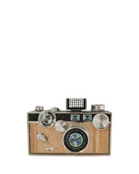 Judith Leiber Click Camera Crystal Minaudiere Jet Multi Women's