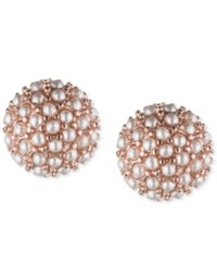 Lonna And Lilly Rose Gold Tone Mini Imitation Pearl Cluster Stud Earrings Pink