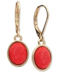 Anne Klein Gold Tone Colored Stone Drop Earrings