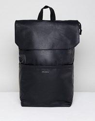 Asos Design Backpack In Faux Leather In Black With Fold Top And Silver Emboss