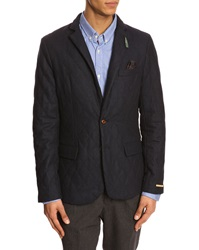 Scotch And Soda Quilted Wool Navy Blue Jacket