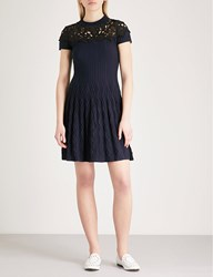 The Kooples Floral Lace Panel Knitted Dress Nav03