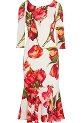Dolce And Gabbana Fluted Floral Print Stretch Silk Midi Dress Red
