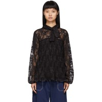 See By Chloe Black Pleated Lace Blouse