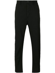 Ziggy Chen Pinstriped Trousers Black