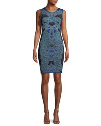 Herve Leger Abstract Baroque Jacquard Fitted Cocktail Dress Black Pattern