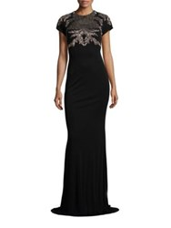 David Meister Metallice Lace Applique Gown Black