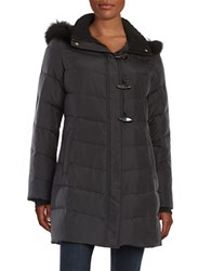 Ellen Tracy Fox Fur Trimmed Puffer Coat Black