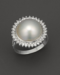Bloomingdale's Cultured Mabe Pearl Ring With Diamonds In 14K White Gold No Color