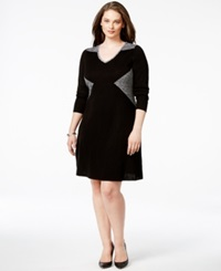Calvin Klein Plus Size Colorblock V Neck Sweater Dress Black