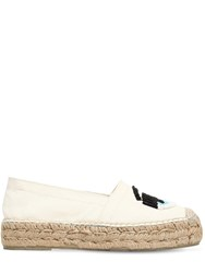 Chiara Ferragni 20Mm Flirty Eye Cotton Canvas Espadrille White