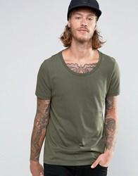 Asos T Shirt With Scoop Neck In Khaki Rifle Green