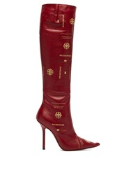 Vetements Passport Print Leather Knee High Boots Burgundy
