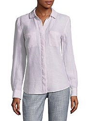 Saks Fifth Avenue Hi Lo Linen Button Down Shirt Pink Railroad