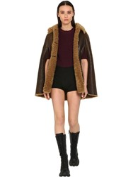 Miu Miu Sleeveless Patent Shearling Cape Jacket Brown