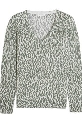 Equipment Cecile Leopard Print Cashmere Sweater Army Green Leopard Print