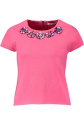 Milly Embellished Stretch Knit Top Pink
