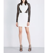 David Koma Lace And Stretch Crepe Mini Dress White Black