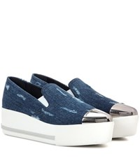 Miu Miu Denim Slip On Platform Sneakers Blue
