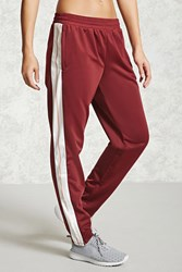 Forever 21 Active Realest Graphic Pants Burgundy Cream