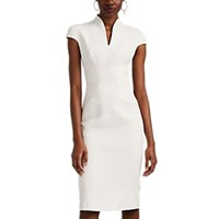 Zac Posen Bonded Crepe Fitted Sheath Dress Ivory