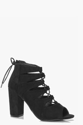 Boohoo Lace Up Block Heel Boot Black