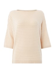 Suncoo Pauline Ribbed Sweater With Batwing Sleeves Nude
