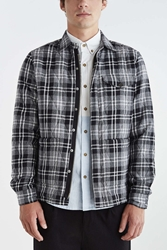 Vanishing Elephant Quilted Plaid Shirt Jacket Black