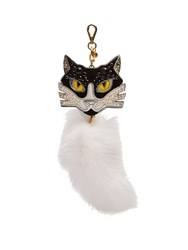 Miu Miu Embellished Leather And Fur Cat Key Ring White Multi