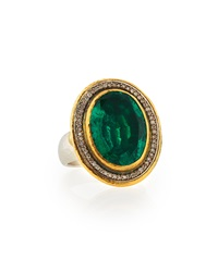 Gurhan 24K Gold And Sterling Silver Renaissance Ring W Diamonds And Emerald Topaz Doublet Size 7.5