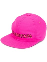 Filles A Papa Embroidered Logo Cap Cotton Wool Pink Purple