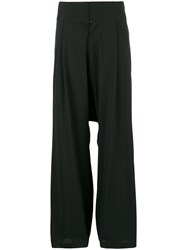 Y 3 Drop Crotch Loose Trousers Black