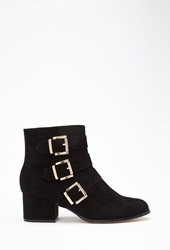 Forever 21 Buckled Faux Suede Booties Black