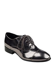 Ivanka Trump Olie Glossy Metallic Leather Oxfords Pewter
