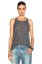 Inhabit Sheer Slub Tank In Gray Blue