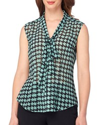Tahari By Arthur S. Levine Tie Neck Houndstooth Woven Top Mint