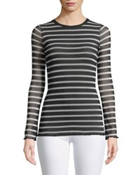 Fuzzi Sheer Striped Long Sleeve Top Black