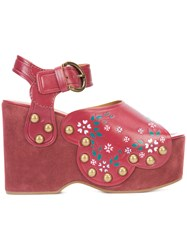Marc Jacobs Dawn Wedge Sandals Women Leather Suede Rubber 39 Red