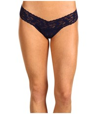 Hanky Panky Signature Lace Low Rise Thong Navy Blue Women's Underwear