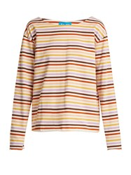 Mih Jeans Simple Striped Cotton Jersey Top White Multi